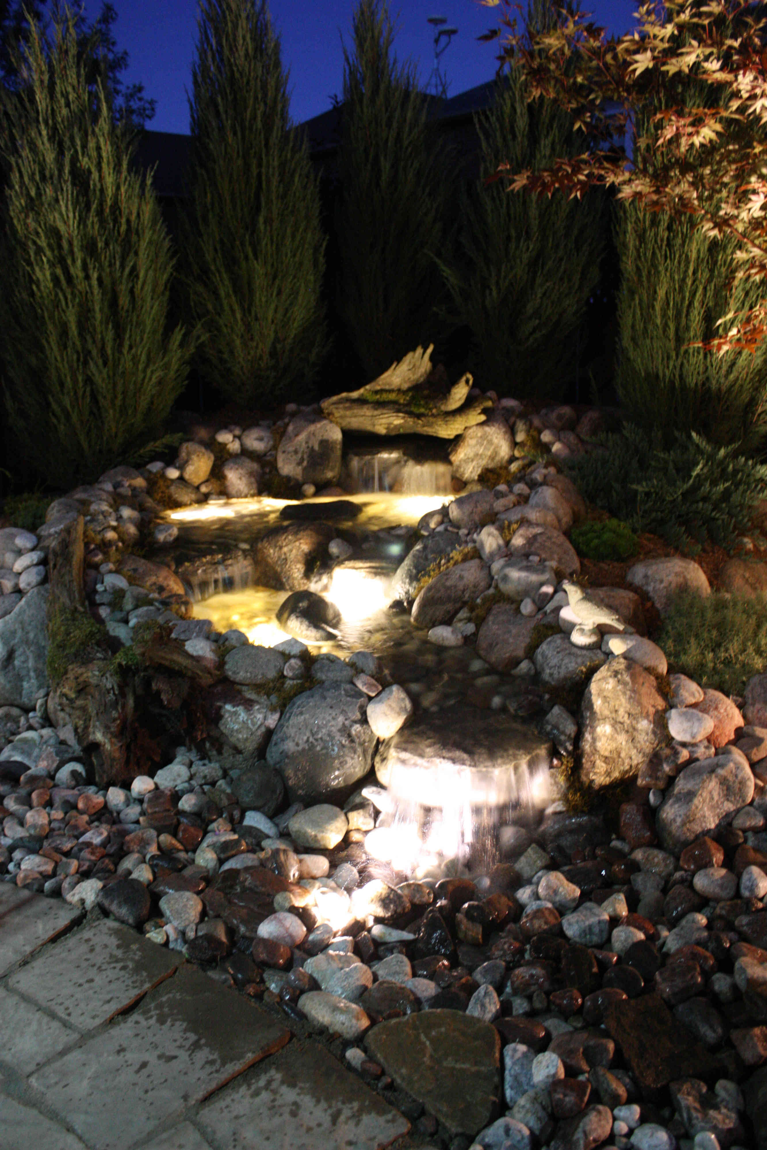 Backyard Pondless Waterfall Night